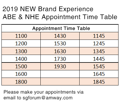 Brand Experience Schedule